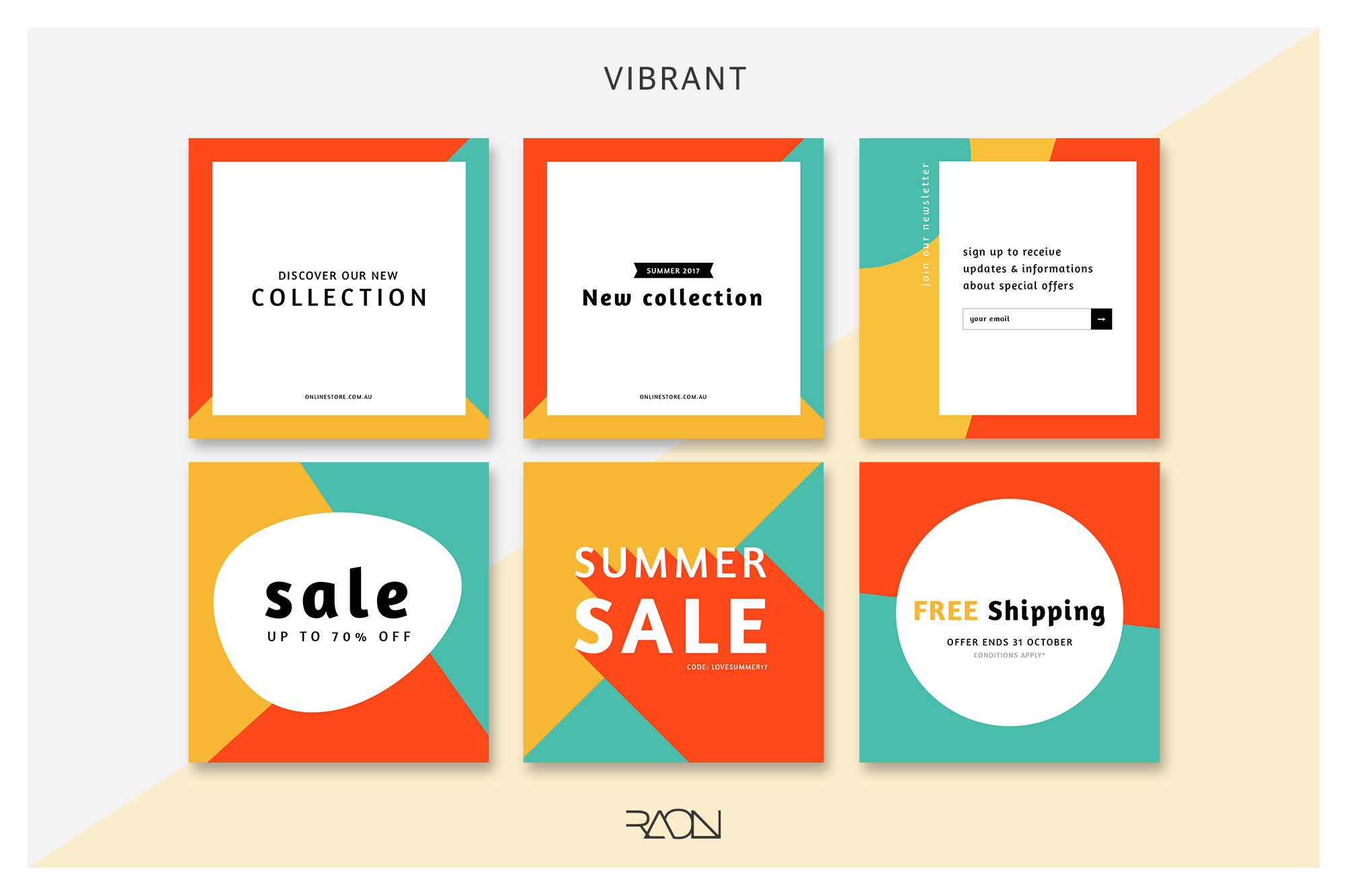 free instagram banner template vibrant colour